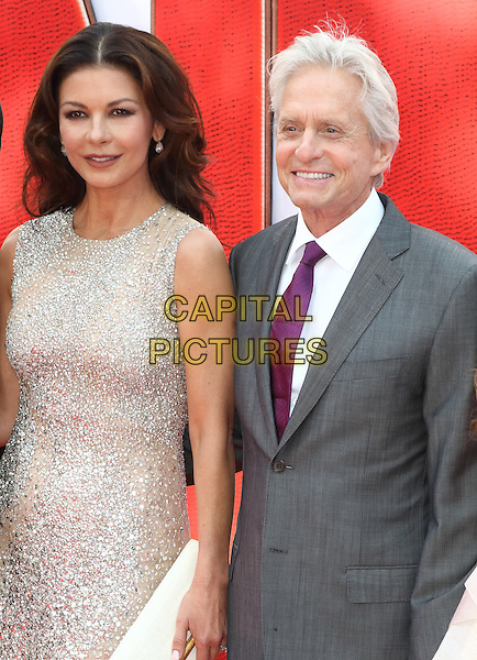LONDON, ENGLAND -  Catherine Zeta-Jones and Michael Douglas at the European Premiere of 'Ant-Man' at the Odeon Leicester Square, London on July 8th 2015<br /> CAP/ROS<br /> &copy;Steve Ross/Capital Pictures
