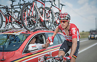 Lars Bak (DEN/Lotto-Soudal) getting supplies at the team car for his teammates<br /> <br /> 12th Eneco Tour 2016 (UCI World Tour)<br /> Stage 7: Bornem › Geraardsbergen (198km)
