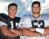 Joe Valenti #13 of Wantagh, left, and Kyle Nunez #53 of East Islip pose for a portrait after team practice at Hofstra University on on Tuesday, June 20, 2017 in preparation for the 22nd annual Empire Challenge. The best seniors from Long Island will battle their New York City counterparts on Wednesday, June 21 at Shuart Stadium.