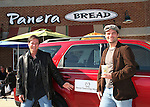 "Guiding Light's Frank Dicopoulos ""Frank Cooper"" and Daniel Cosgrove ""Billy Lewis""  pose with a Mazda who is a sponsor for the event as the two of them  donated their time for Young Women's Breast Cancer Awareness Foundation by going to Pittsburgh, PA on October 7, 2008 and went Pink with Panera. They visited three of 27 Panera Bread locations during the day where 100% of sales from their Pink Ribbon bagels went to the foundation and a portion of those sales all during the month of October. For more information go to www.breastcancerbenefit.org. The day started out with Star 100.7 and the hosts Kate and JR interviewed Frank Dicopoulos. The two actors then went to the CBS studio in Pittsburgh in the morning. The day was a great hit. (Photo by Sue Coflin/Max Photos)"