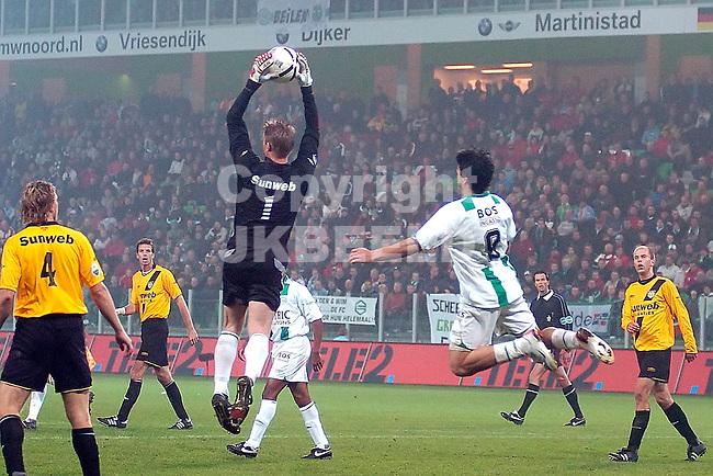 groningen - nac 07-11-2006 beker seizoen 2006-2007 doelman zoetebier onderschept