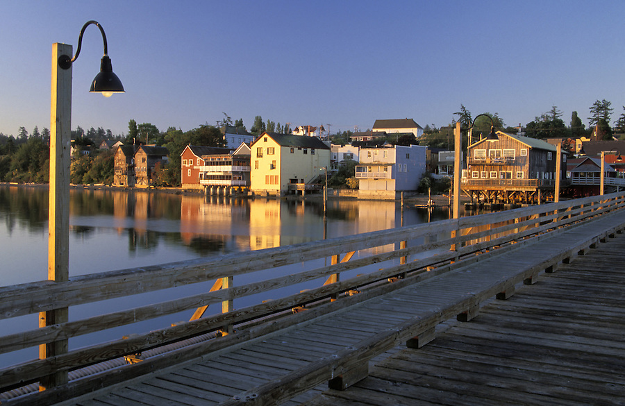 Coupeville waterfront and pier at sunrise, Coupeville, Washington