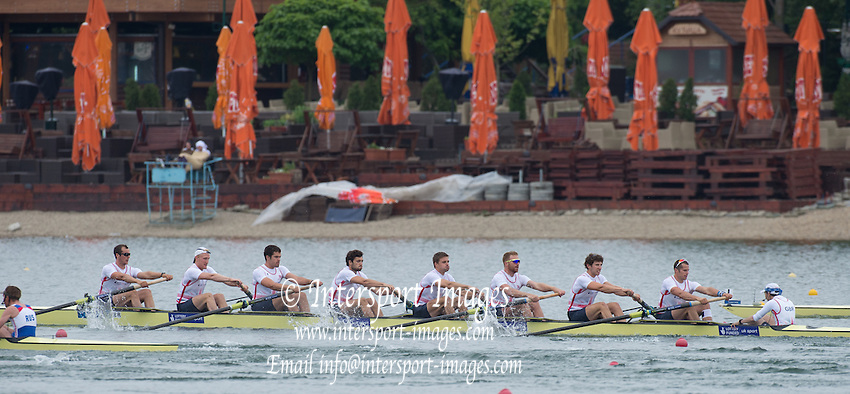 Belgrade, SERBIA,  GBR M8+. Bow, Scott DURANT, Oliver COOK, Phillip CONGDON, Matthew GOTREL, Pete REED, William SATCH, Matthew TARRANT, James FOAD and cox, Phelan HILL. Semi-Final A/B at the 2014 FISA European Rowing Championships. Lake Sava. <br /> <br /> 13:20:28  Saturday  31/05/2014<br /> <br /> [Mandatory Credit; Peter Spurrier/Intersport-images]