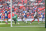Lenell John-Lewis of Grimsby Town (right) watches as his shot crosses the line to open the scoring during the 2015 Vanarama Conference Promotion Final match between Grimsby Town and Bristol Rovers at Wembley Stadium, London<br /> Picture by David Horn/eXtreme aperture photography +44 7545 970036<br /> 17/05/2015