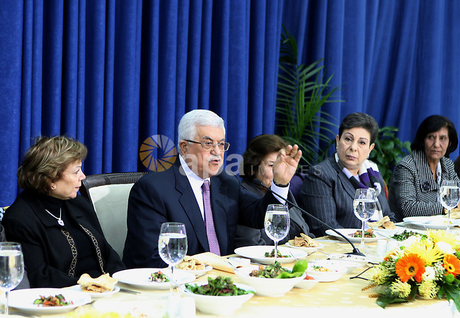 Palestinian President, Mahmoud Abbas (Abu Mazen) meets with a delegation from the General Union of Palestinian women in the West Bank town of Ramallah on Jan. 29,2011.  photo by Omar Rashidi