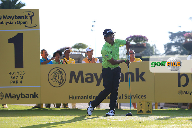 Nicholas Fung (MAS) on the 1st tee during Round 3 of the Maybank Malaysian Open at the Kuala Lumpur Golf &amp; Country Club on Saturday 7th February 2015.<br /> Picture:  Thos Caffrey / www.golffile.ie