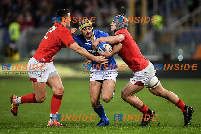 Angelo Esposito Italy, Jonathan Davies and Owen Watkin Wales.<br />  <br /> Roma 9-02-2019 Stadio Olimpico<br /> Rugby Six Nations tournament 2019  <br /> Italy - Wales <br /> Foto Antonietta Baldassarre / Insidefoto