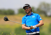 Martin Wiegele (AUT) on the 1st tee during Round 1 of the Challenge de Madrid, a Challenge  Tour event in El Encin Golf Club, Madrid on Wednesday 22nd April 2015.<br /> Picture:  Thos Caffrey / www.golffile.ie
