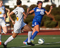 In a National Women's Soccer League Elite (NWSL) match, the Boston Breakers defeated the Western New York Flash  2-1, at Dilboy Stadium on May 5, 2013.   Boston Breakers forward Sydney Leroux (2) dribbles the ball past Western New York Flash defender Estelle Johnson (12).