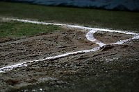 After heavy rain in South East London in the afternoon the playing surface around the corner flag was looking rather muddy during Charlton Athletic vs Burton Albion, Sky Bet EFL League 1 Football at The Valley on 12th March 2019