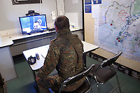- Eurocorps, European multinational army corps, German officier in videoconference in the field command post....- Eurocorps, corpo militare multinazionale europeo,..ufficiale tedesco  in videoconferenza all'interno del posto di comando campale..