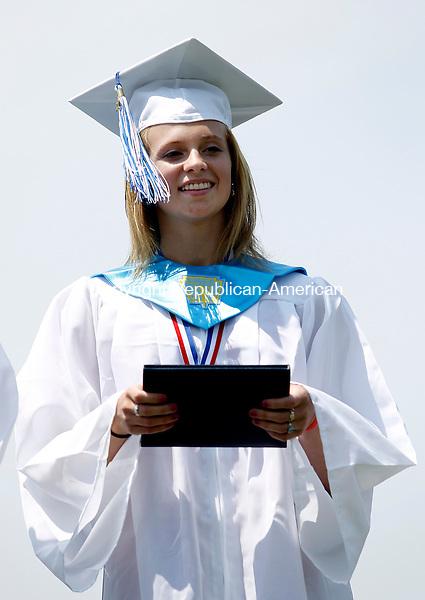 Washington, CT-26, June 2010-062610CM06 Shepaug valedictorian, Christina Dumas smiles smiles after receiving her diploma Saturday afternoon in Washington.  --Christopher Massa Republican-American