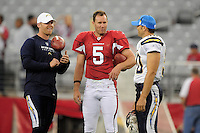 Aug. 22, 2009; Glendale, AZ, USA; San Diego Chargers punter Mike Scifres (left) and long snapper David Binn (right) talk with Arizona Cardinals punter (5) Ben Graham during a preseason game at University of Phoenix Stadium. Mandatory Credit: Mark J. Rebilas-