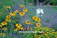 "63822-00407 Bird House in bird flower garden - Russian Sage, Melampodium ""Million Gold"", Indian Summer Rudbeckia, Blue Vic. Salvia"