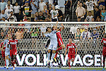 09 June 2011: Kansas City's Omar Bravo (MEX) (99) is challenged for a header by Chicago's Bratislav Ristic (SRB) (right). Sporting Kansas City played the Chicago Fire to a 0-0 tie in the inaugural game at LIVESTRONG Sporting Park in Kansas City, Kansas in a 2011 regular season Major League Soccer game.