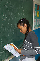 Serbia. Leskovac is a city and the administrative center of the Jablanica District in southern Serbia. « Petar Tasir » Elementary School. The school's students are all from Romani ethnicity. Classroom. 5th Grade. Mathematics class. A young female student with braids in her hair holds her notebook in her hand and stands close to the blackboard. The Romani (also spelled Romany) or Roma, Roms or Gypsies, are a traditionally itinerant ethnic group. The Pestalozzi Children's Foundation (Stiftung Kinderdorf Pestalozzi) is advocating access to high quality education for underprivileged children. It supports in Leskovac a project called » Together in transition ».18.4.2018 © 2018 Didier Ruef for the Pestalozzi Children's Foundation