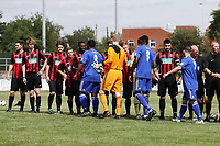 The teams shake hands during Redbridge vs Saffron Walden Town, Essex Senior League Football at Oakside Stadium on 4th August 2018