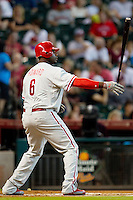 Philadelphia Phillies first baseman Ryan Howard #6 at bat during the Major League baseball game against the Houston Astros on September 16th, 2012 at Minute Maid Park in Houston, Texas. The Astros defeated the Phillies 7-6. (Andrew Woolley/Four Seam Images).