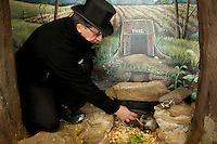 Ron Ploucha inside of Punxsutawney Phil's burrow at the Punxstuawney Library.