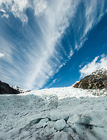 Cloud formation over Main Icefall on Franz Josef Glacier, Westland Tai Poutini National Park, UNESCO World Heritage Area, West Coast, New Zealand, NZ