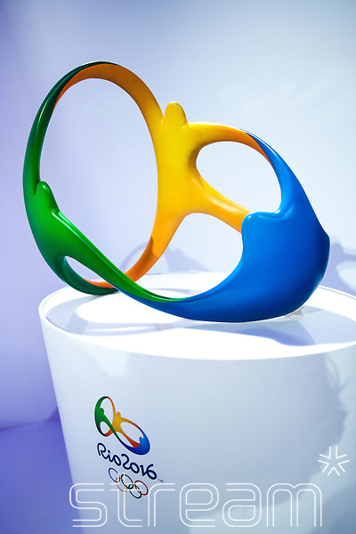 A 3D sculpture of the Rio 2016 Olympic logo, on a white plinth with the 2016 Rio logo and the Olympic rings.  Part of the Casa Brazil exhibition at Somerset House