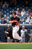 Nashville Sounds third baseman Matt Chapman (7) at bat during a game against the New Orleans Baby Cakes on May 1, 2017 at First Tennessee Park in Nashville, Tennessee.  Nashville defeated New Orleans 6-4.  (Mike Janes/Four Seam Images)