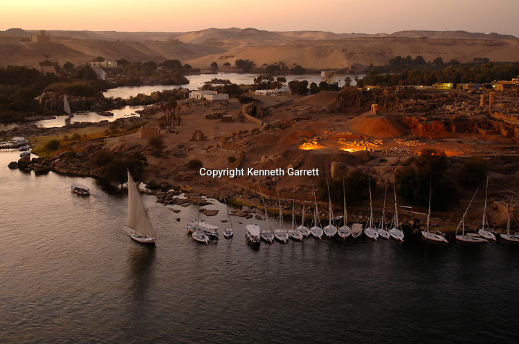 Elephantine Island scenic views, Traditional border between Egypt and Nubia, near now submerged 1st Cataract, Black Pharaohs, Nubians, Egypt, Aswan
