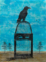 SOLD - Raven on cage photo transfer over mixed media encaustic photo painting.