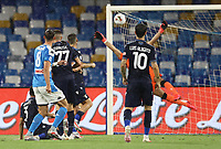 1st August 2020; Stadio San Paolo, Naples, Campania, Italy; Serie A Football, Napoli versus Lazio; Fabian Ruiz of Napoli shoots and scores past keeper Thomas Strakosha in the 9th minute for 1-0
