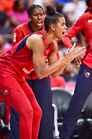 Washington, DC - August 17, 2018: Washington Mystics guard Natasha Cloud (9) is fired up after a Mystics stop late in the fourth quarter game between the Washington Mystics and Los Angeles Sparks at the Capital One Arena in Washington, DC. (Photo by Phil Peters/Media Images International)