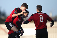 Billy Hunt of Brightlingsea scores the first goal for his team and celebrates with his team mates during Brightlingsea Regent vs AFC Hornchurch, Buildbase FA Trophy Football at North Road on 10th November 2018