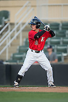 Bradley Strong (18) of the Kannapolis Intimidators at bat against the Asheville Tourists at Kannapolis Intimidators Stadium on May 26, 2016 in Kannapolis, North Carolina.  The Tourists defeated the Intimidators 9-6 in 11 innings.  (Brian Westerholt/Four Seam Images)