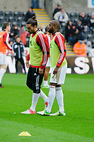 Sunday, 23 November 2012<br /> <br /> Pictured: Chico Flores of Swansea City and Dwight Tiendalli of Swansea City<br /> <br /> Re: Barclays Premier League, Swansea City FC v Manchester United at the Liberty Stadium, south Wales.