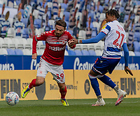 Middlesbrough's Patrick Roberts (left) under pressure from Reading's Michael Olise (right) <br /> <br /> Photographer David Horton/CameraSport<br /> <br /> The EFL Sky Bet Championship - Reading v Middlesbrough - Tuesday July 14th 2020 - Madejski Stadium - Reading<br /> <br /> World Copyright © 2020 CameraSport. All rights reserved. 43 Linden Ave. Countesthorpe. Leicester. England. LE8 5PG - Tel: +44 (0) 116 277 4147 - admin@camerasport.com - www.camerasport.com
