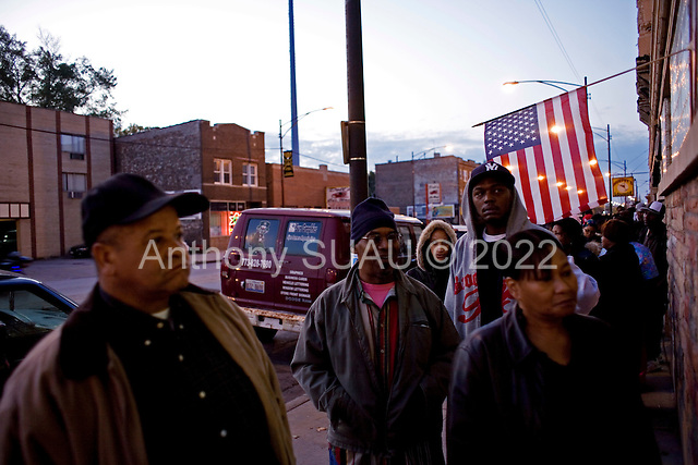 Chicago, Illinois.November 4, 2008.USA..On election day in the United States residents of Chicago's South-side vote early.