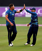 Mitchell Claydon (L) of Kent is congratulated by Heino Kuhn after bowling Gregory during the Royal London One Day Cup game between Kent and Somerset at the St Lawrence Ground, Canterbury, on May 29, 2018