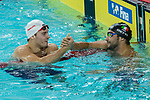 Wojciech Wojdak of Poland (L) and Gabriele Detti of Italy (R) during the FINA Swimming World Cup Men 400m Freestyle on September 30, 2017 in Hong Kong, China. Photo by Marcio Rodrigo Machado / Power Sport Images