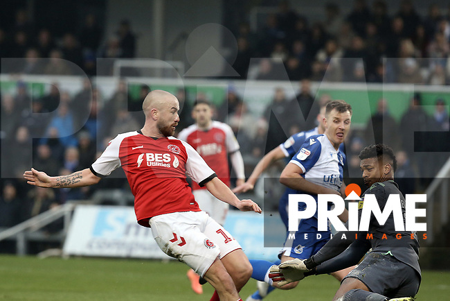 Patrick Madden of Fleetwood Town is foiled by Jamal Blackman of Bristol Rovers during the Sky Bet League 1 match between Bristol Rovers and Fleetwood Town at the Memorial Stadium, Bristol, England on 25 January 2020. Photo by Dave Peters / PRiME Media Images.