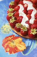 """Europe/France/Bretagne/29/Finistère/Sainte-Marine: Tarte façon petit beurre aux fraises de Plougastel - Recette de Patrick Le Guen chef du restaurant """"L'Agape"""""""