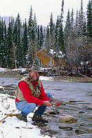 Fly fishing for grayling on the Chena river, interior, Alaska.