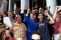 June 26, 2012 - Charlottesville, Virginia-U.S. - University of Virginia president Teresa Sullivan sings the Good Ole Song with faculty and students after being reinstated as the school's president Tuesday at the University of Virginia in Charlottesville, Va. (Credit Image: © Andrew Shurtleff)