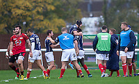 Celebrations after Matt Williams of London Scottish scores a try during the Greene King IPA Championship match between London Scottish Football Club and Jersey at Richmond Athletic Ground, Richmond, United Kingdom on 7 November 2015. Photo by Andy Rowland.