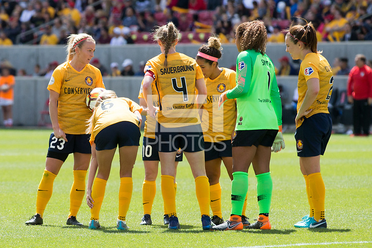 Sandy, UT - Saturday April 14, 2018: Utah Royals FC during a regular season National Women's Soccer League (NWSL) match between the Utah Royals FC and the Chicago Red Stars at Rio Tinto Stadium.
