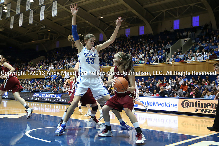 27 January 2013: Boston College's Nicole Boudreau (right) is defended by Duke's Allison Vernerey (FRA) (43). The Duke University Blue Devils played the Boston College Eagles at Cameron Indoor Stadium in Durham, North Carolina in an NCAA Division I Women's Basketball game. Duke won the game 80-56.