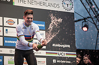 Wout Van Aert (BEL/Crelan Charles) champaign moment<br /> <br /> Men Elite Race<br /> UCI CX Worlds 2018<br /> Valkenburg - The Netherlands