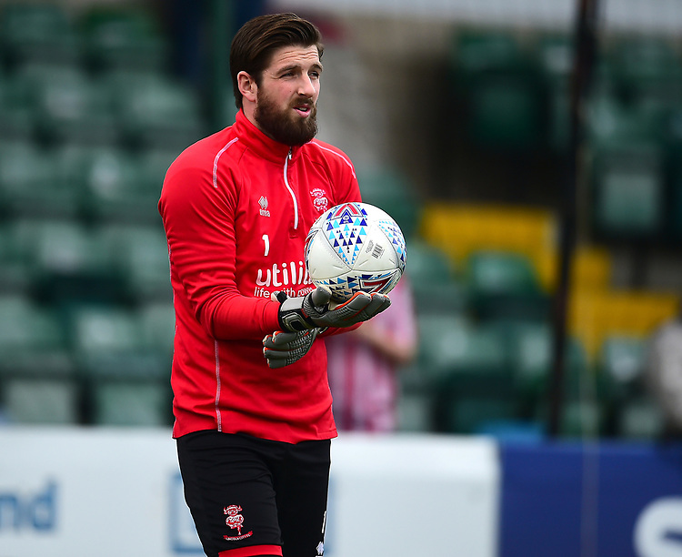 Lincoln City's Josh Vickers during the pre-match warm-up<br /> <br /> Photographer Andrew Vaughan/CameraSport<br /> <br /> The EFL Sky Bet League Two - Lincoln City v Macclesfield Town - Saturday 30th March 2019 - Sincil Bank - Lincoln<br /> <br /> World Copyright © 2019 CameraSport. All rights reserved. 43 Linden Ave. Countesthorpe. Leicester. England. LE8 5PG - Tel: +44 (0) 116 277 4147 - admin@camerasport.com - www.camerasport.com