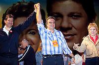 ATENCAO EDITOR: FOTO EMBARGADA PARA VEICULOS INTERNACIONAIS. SAO PAULO, SP, 22 SETEMBRO DE 2012 - ELEICOES 2012 - FERNANDO HADDAD - O canditado a prefeitura da cidade, Fernando Haddad (PT), <br /> , a Ministra da Cultura Marta Sucplicy e o ministro da Justica, Jose Eduardo Martins Cardoso, participam de comicio no bairro do Jacana, na zona norte da cidade, nesta noite de sabado (22) . RICARDO LOU - BRAZIL PHOTO PRESS