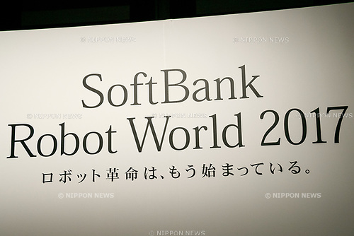 A logo of SoftBank Robot World 2017 on display during a news conference on November 21, 2017, Tokyo, Japan. SoftBank Robotics organized SoftBank Robot World 2017 to introduce AI (Artificial Intelligence) and IoT (the Internet of Things) companies developing the latest technology for robots, including applications its humanoid robot Pepper in various business fields. The robot expo runs until November 22. (Photo by Rodrigo Reyes Marin/AFLO)