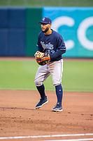 Corpus Christi Hooks infielder Abraham Toro (13) readies for a pitch Wednesday, May 1, 2019, at Arvest Ballpark in Springdale, Arkansas. (Jason Ivester/Four Seam Images)
