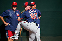 Minnesota Twins pitcher Ryan Eades (80) throws in the bullpen as Bert Blyleven (left) and J.P. Martinez look on during a Spring Training practice on February 22, 2019 at Hammond Stadium in Fort Myers, Florida.  (Mike Janes/Four Seam Images)